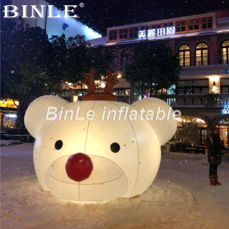 Customized party ideas white giant inflatable bear head with led lights for event decorationCustomized party ideas white giant inflatable bear head with led lights for event decoration