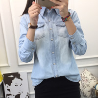 Fashion Women Blouse Spring Autumn Casual Shirts Long Sleeve Denim Jeans Tops Casual Women Shirt 2017