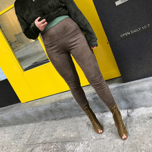 Fashion Spring Suede Leather High Waist Pencil Pants Women High Stretchy Elastic Retro Trousers