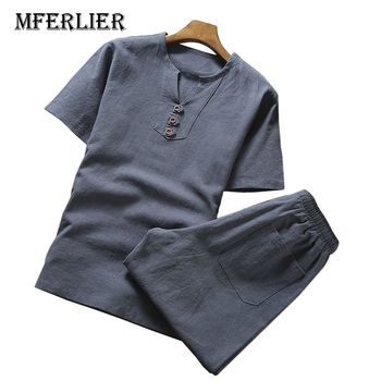MFERLIER Summer shirt men Large size 5XL 6XL 7XL 8XL 9XL Cotton linen Bust 105-155cm shirt men 5 Colors