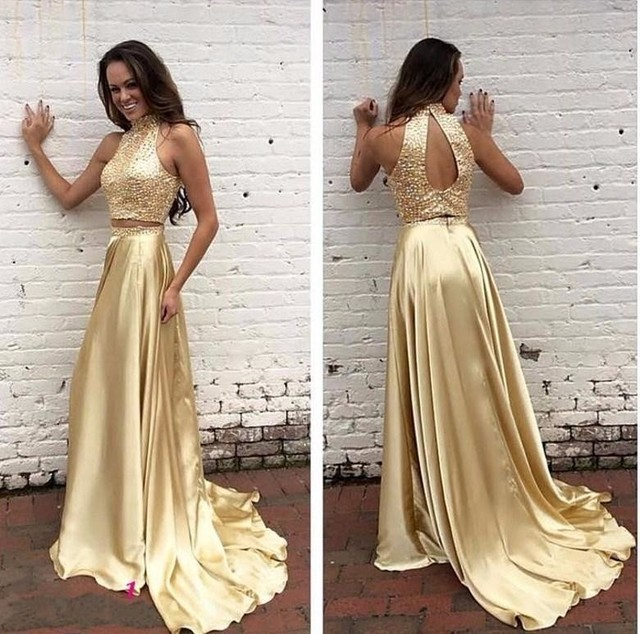 Ouro Dois Vestidos Pedaço de Baile Alta Neck Lace Frisada Formal Vestidos de Festa Charme Vestido Sem Mangas
