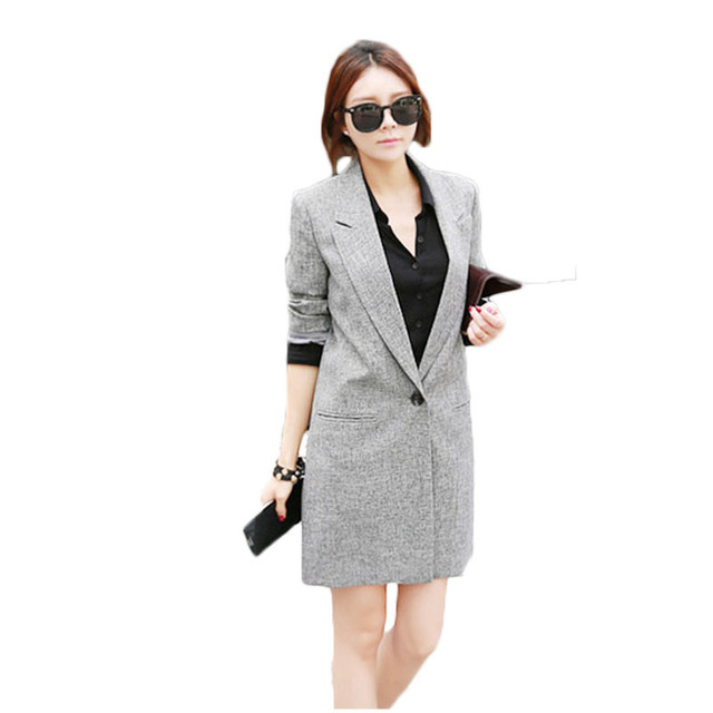 2018 Spring Autumn New Women Korean Long Slim Blazers Gray Single Breasted Female Casual Plus Size Small Suit Jacket LQ182