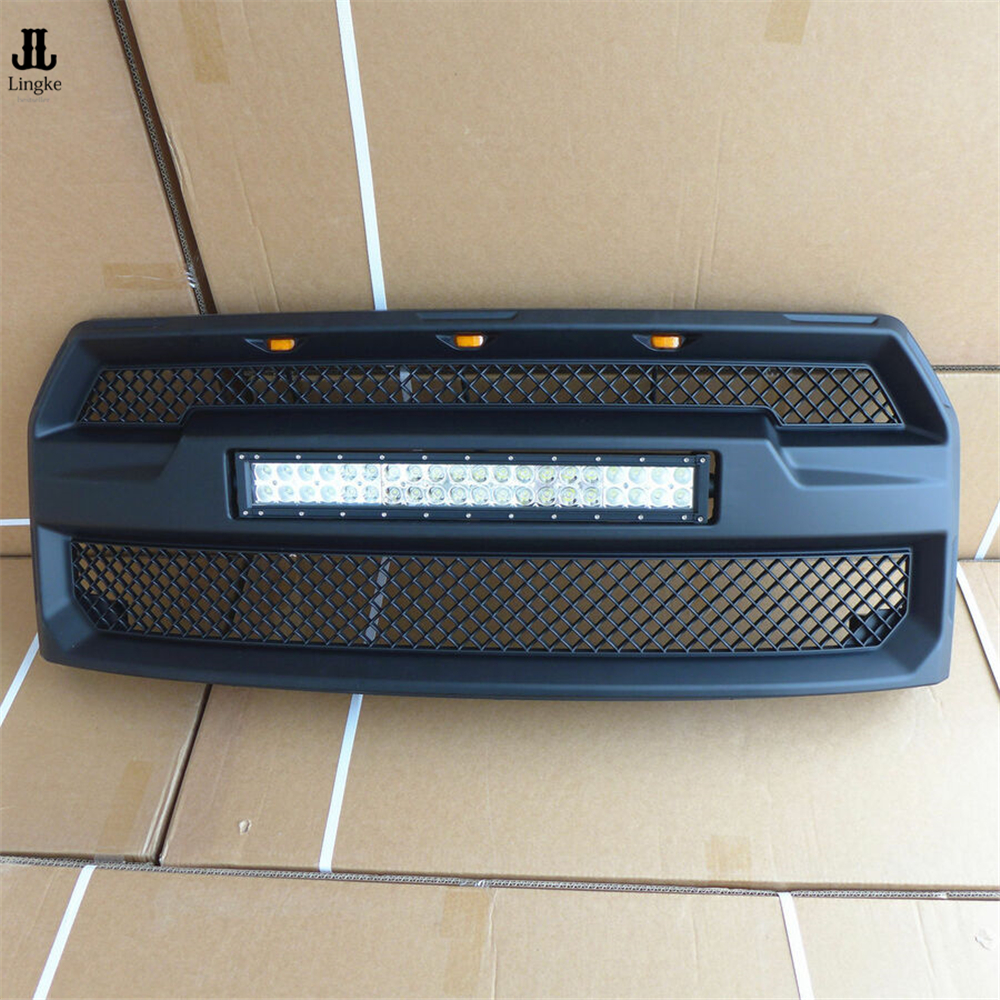 BLACK Grille Grill With 20 INCH 120W LED LIGHT For Ford F 150 F150 Raptor 2015 2016 2017