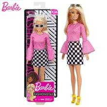 Original Dolls Brand Barbie pink lady FXL44 Fashionista Girl Doll Kids Birthday Gift bonecas Fashion Style for Children