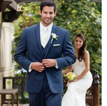 Classic Navy Blue Groom Tuxedos One Button Custom Made Wedding Formal Bridegroom Suit Jacket+Pants+vest