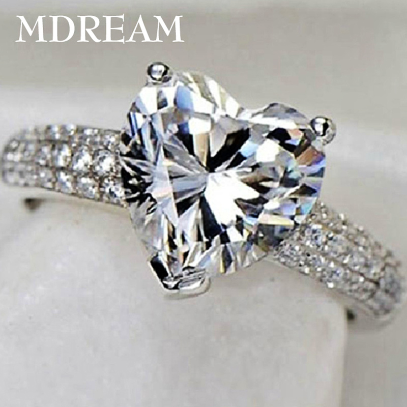 خاتم اللون الفضي مع 3 قيراط الزركون AAA للنساء أزياء الزفاف نمط قلب خواتم مجوهرات 7 8 9 10 LSR048