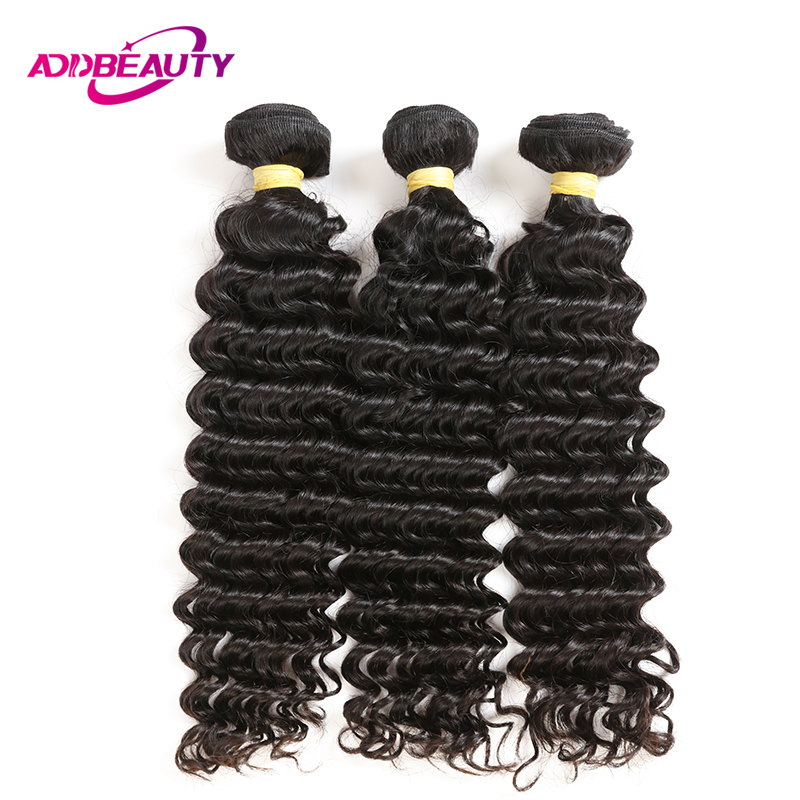 Addbeauty Indian Unprocessed Virgin Human Deep Wave Color Baby Hair 1 3 4 Bundles Extension Double Weft For Black Women Salon
