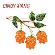CINDY XIANG New Arrival Enamel Grapes Brooches for Women Summer Design Elegant Fashion Fruit Pins Cute Jewelry Kids Accessories