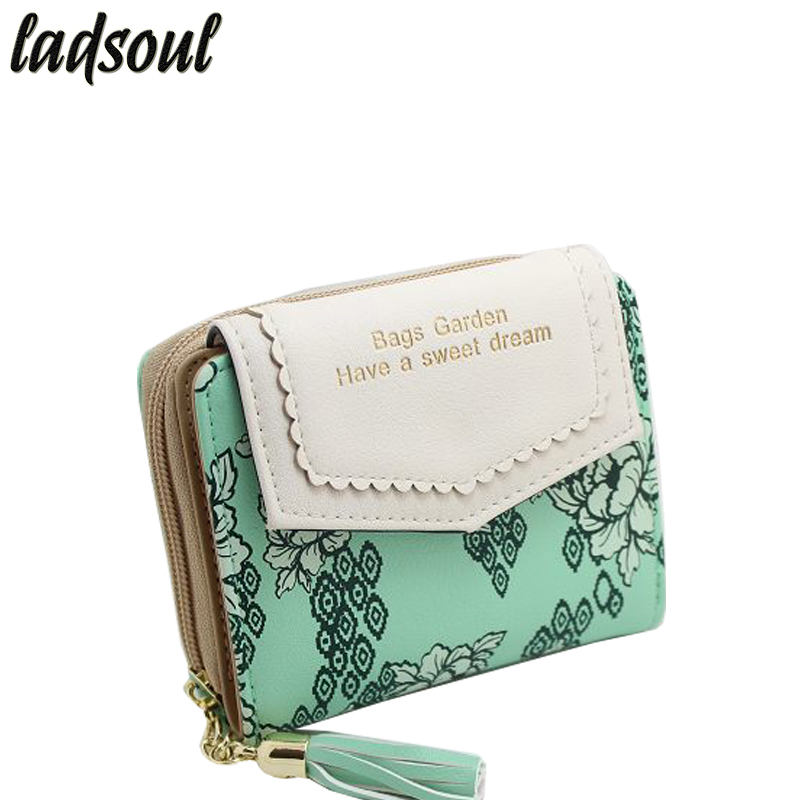 LADSOUL Excellent Quality Women Wallet Famous Brand Purse Women Credit Card Holder Money Bag Female Designer Wallets LS8736/g anime fairy tail wallet cosplay school students money bag children card holder case portefeuille homme purse wallets