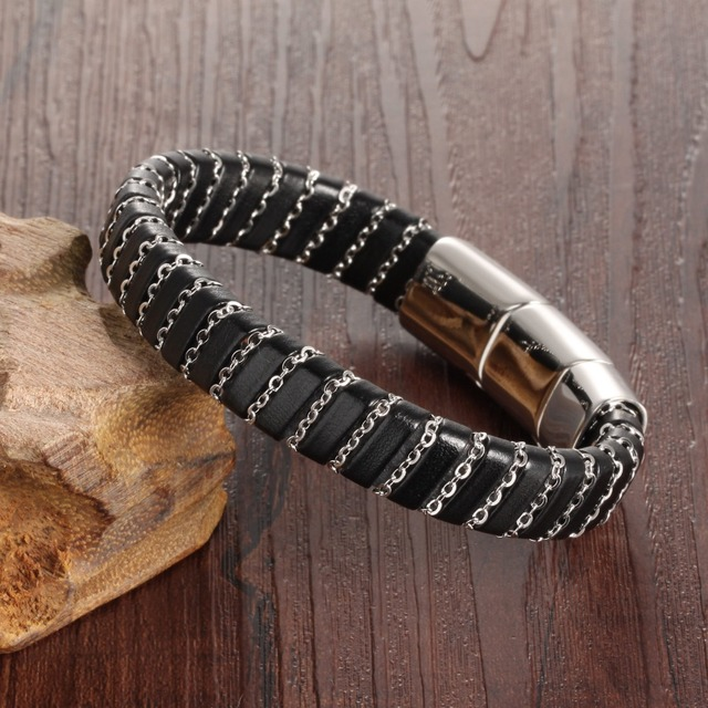 Leather Bracelet with Adjustable Magnetic Clasp