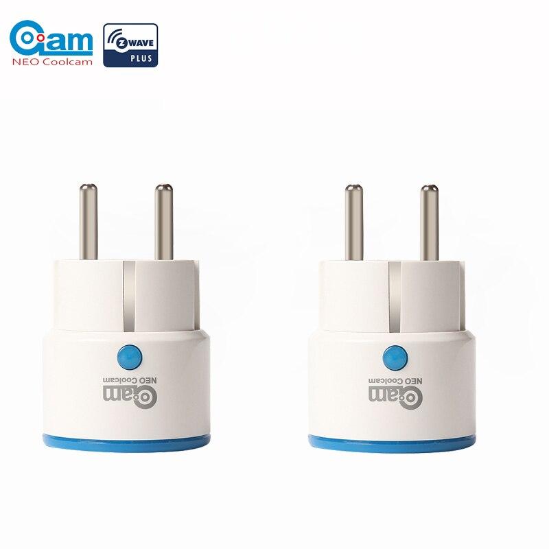 NEO COOLCAM NAS-WR01ZE 2 unids/lote Zwave salida Plugin potencia inteligente Plug EU hembra inteligente sistema de alarma domótica para Hogar Casa