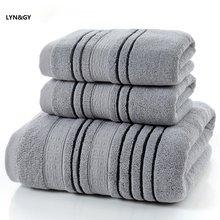 54302327d1 Nuovo 3 Pezzi Set di Cotone Grigio Set di Asciugamani per Gli Uomini toalla  2 pz Viso Panno Per Il Viso Asciugamano 1 pz Vasca D..