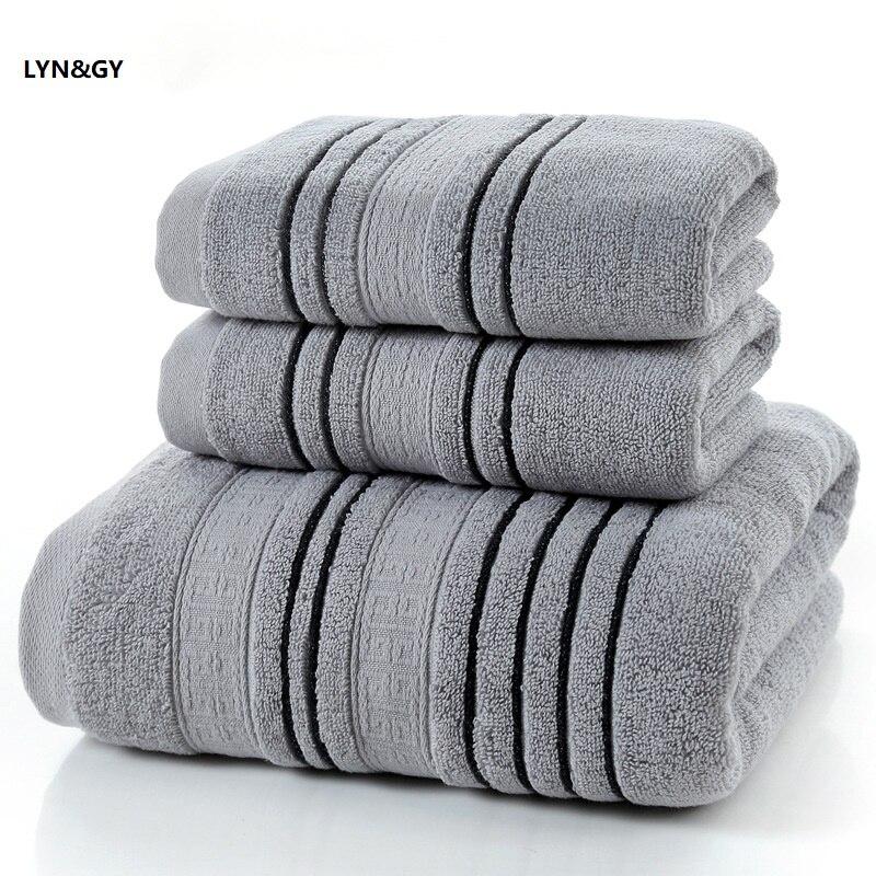 Nouveau 3 pièces ensemble gris coton serviette ensemble pour hommes toalla 2pc visage gant de toilette petite serviette 1pc serviette de bain Camping douche serviettes salle de bain