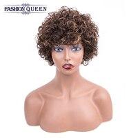 Brazilian Short Human Hair Wigs for Black Women T4/30 Color Remy Machine Made Glueless Bouncy Short Bob Curly Wigs 0184