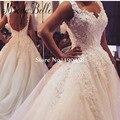 Bela Lace Sem Costas Vestido De Noiva Vestido de Noiva vestido de Noiva Applique Frisado Noiva Vestido de Casamento Do Vintage 2017