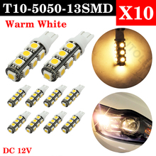 цена на 10PCS Warm White T10 led bulb 13 SMD 5050 LED T10 W5W 194 168 Car Light Source lamp dash indicator signal side wedge tail light