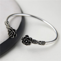 JINSE Authentic 925 Sterling Silver Bracelet Handmade Rose Flower Original Design Adjustable Bangles For Women Fine