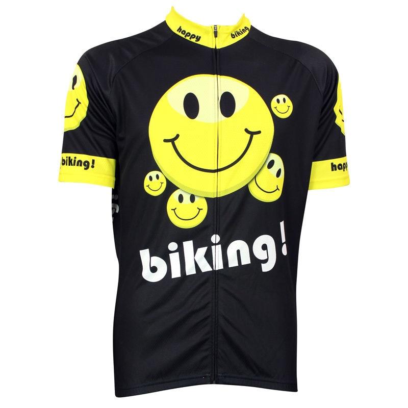 ФОТО Alien SportsWear Smile Pattern Men's Pro Team Black Cycling Clothes Summer Breathable top Sleeve Bike Jersey Size XS-5XL