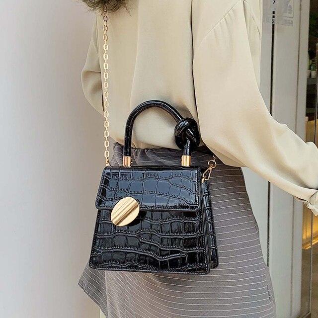 Moda 2019 nueva bolsa de mano de cuero de calidad bolso de diseñador de Mujer bolso de bandolera con patrón de cocodrilo 2