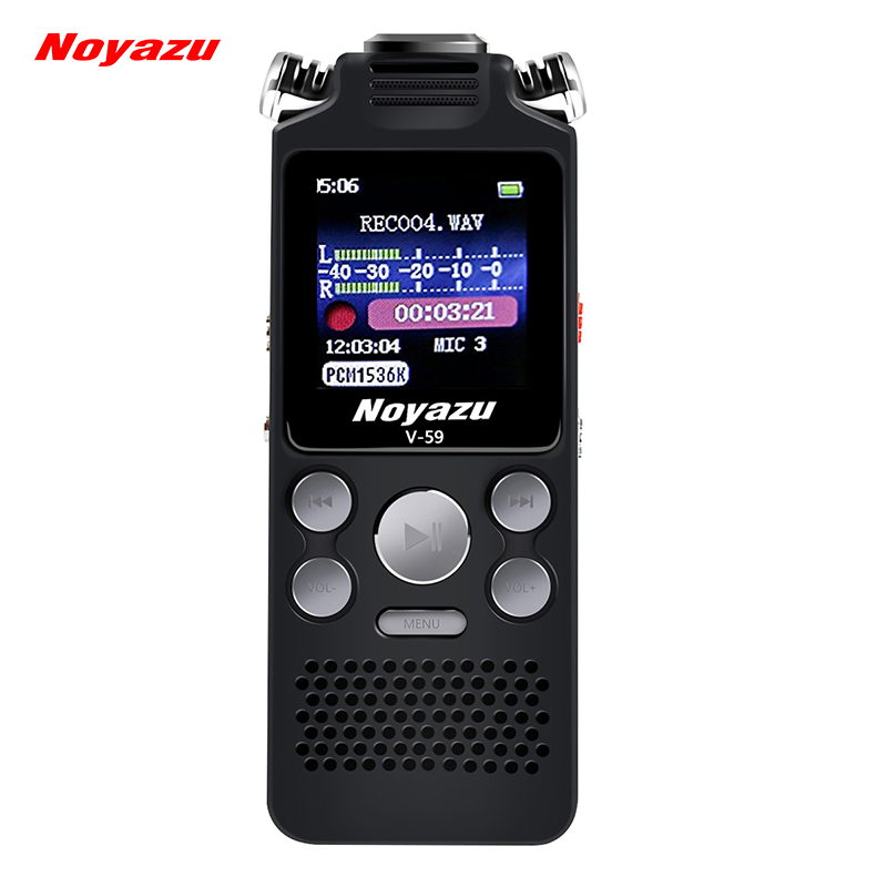 NOYAZU V59 16G Dual Microphone Digital Voice Recorder Pen Professional Dictaphone MP3 Pl ...