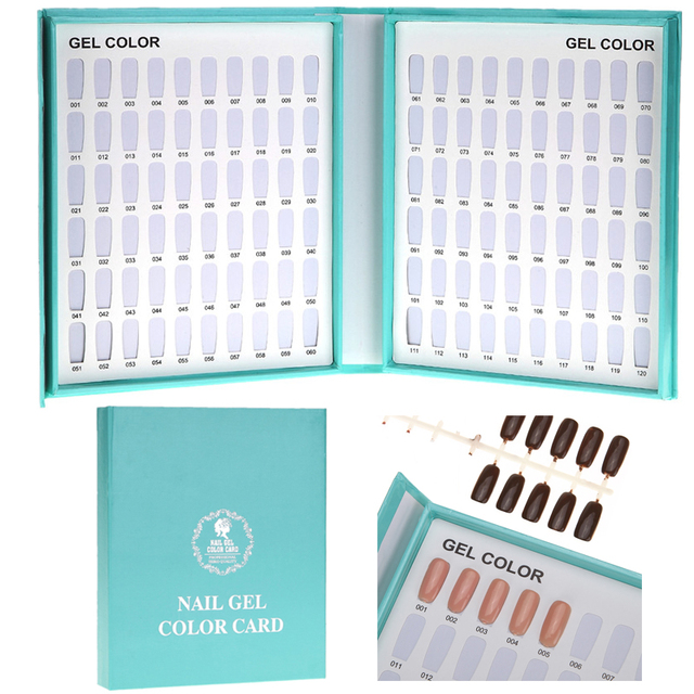 1Pcs 120 Colors Nail Art Gel Polish Color Card Tips Display Showing Shelf Blank Chart Book Paste Folding Style Manicure Tool