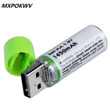 Bateria de Nimh Recarregável com Longa Vida e Desempenho 5 Cartões 10 Pcs Usb AA 1.2 V 1450 Mah Bateria Ecológico