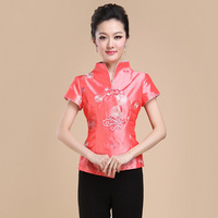 Hot Sale Summer Satin Chinese Style Women Tang Suit Tops Blouse Vintage Traditional Chinese Shirt M