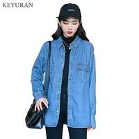 Plus Size vetement Fashion Style Women Clothes Blouse Long Sleeves Casual Denim Shirt Nostalgic Vintage Loose Jeans Shirt Camisa