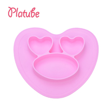 PLATUBE 1 PC Baby Plate Tableware Children Food Container Placemat Baby Dishes Infant Feeding Cup Silicone Suction Bowl