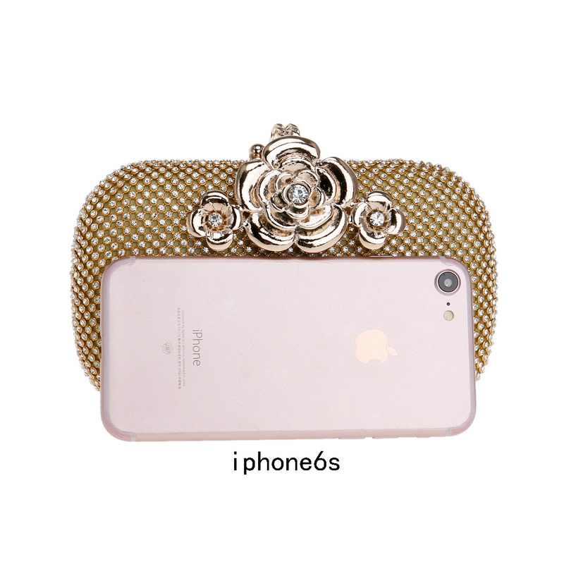 SEKUSA/женская вечерняя сумочка со стразами, Маленькая женская вечерняя сумочка с цветком, металлический клатч на день, серебряные/Золотые/черные свадебные сумочки с кристаллами