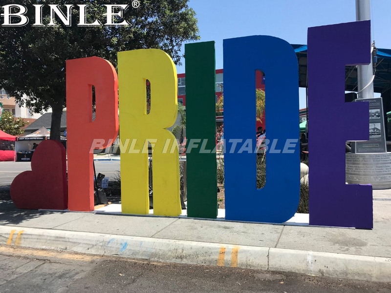 Custom advertising colorful large inflatable sign party wedding stage props giant inflatable PRIDE letters with led