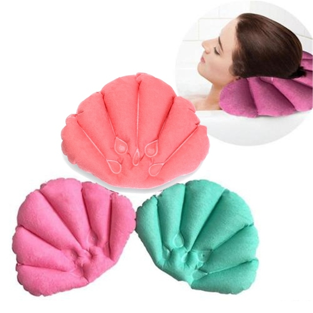 Soft Waterproof Home Spa Inflatable Pillow Cups Shell Shaped Neck Bathtub  Cushion Bathroom Accessories Random Color