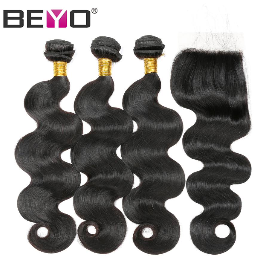 Beyo Malaysian Hair Bundles With Closure Body Wave Human Hair 3 Bundles With Closure Non Remy Hair Extension Natural/#1B Color