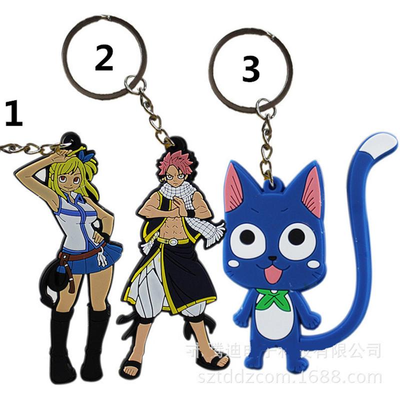 2017 New Anime Fairy Tail Figures Natsu Happy Lucy Gray Elza PVC Keychain Pendants Toys Dolls Kids Friends Gift (2)