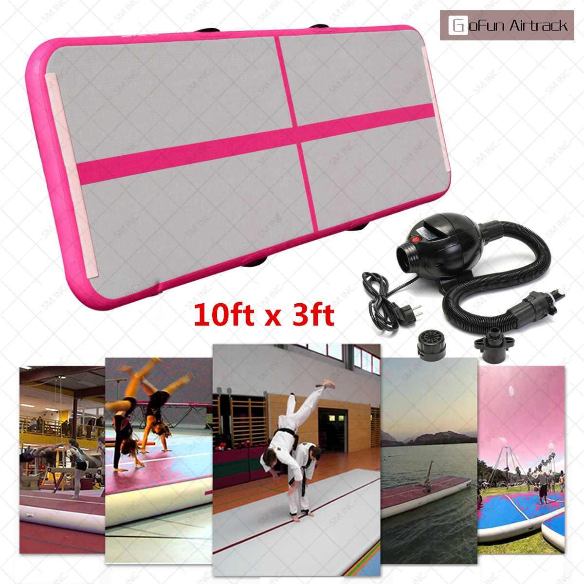 Gofun 118x35x4 pouces pistes d'air plancher maison gymnastique culbuteur tapis gonflable Air Tumbling piste GYM