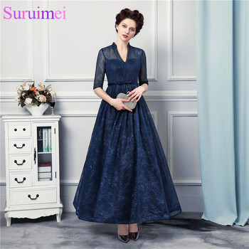New Arrival Tea Length Evening Dresses Lace With Jacket Backless Navy Blue Evening Gown