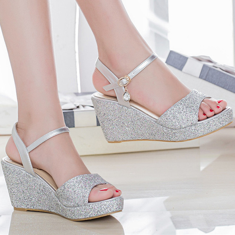 Womens female summer style elgant silver gold glitter bling peep toe wedges high heels sandals lady sandal plus size 42 43 F8 female s lace up bow knot women glitter rivets rome sandal on platform plus size 42 43 round toe girls summer shoes flip flops