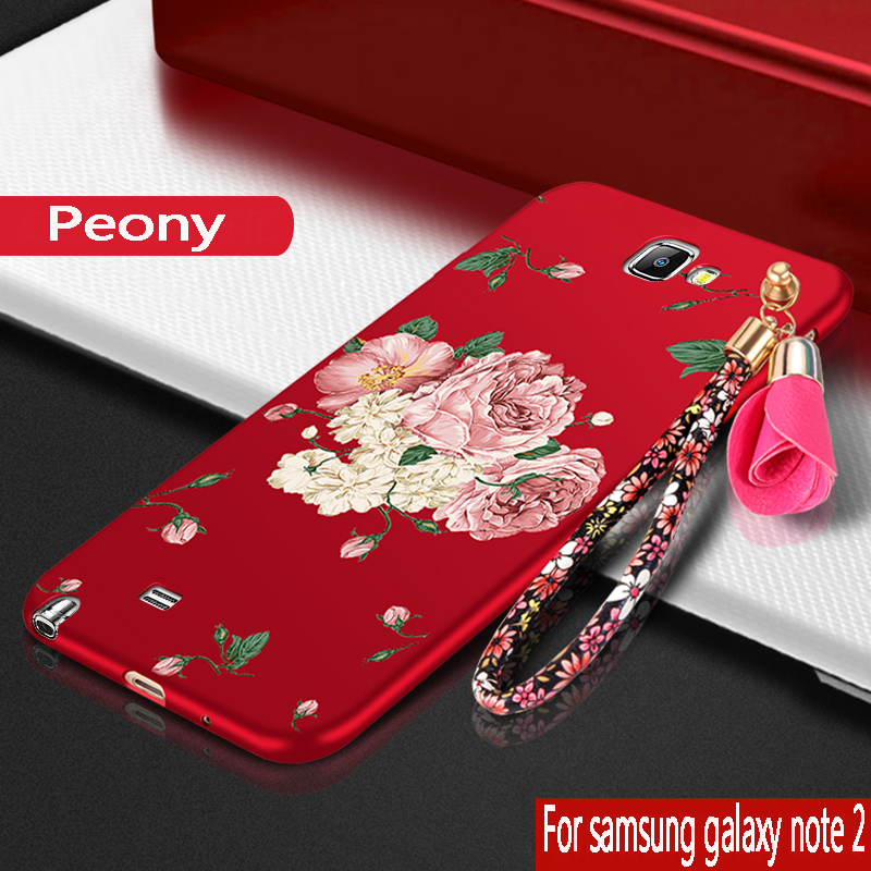 For Samsung Galaxy note 2 Case silicone luxury peony protection mobile phone bag For Samsung Galaxy note 2 N7100 Cover TPU Soft