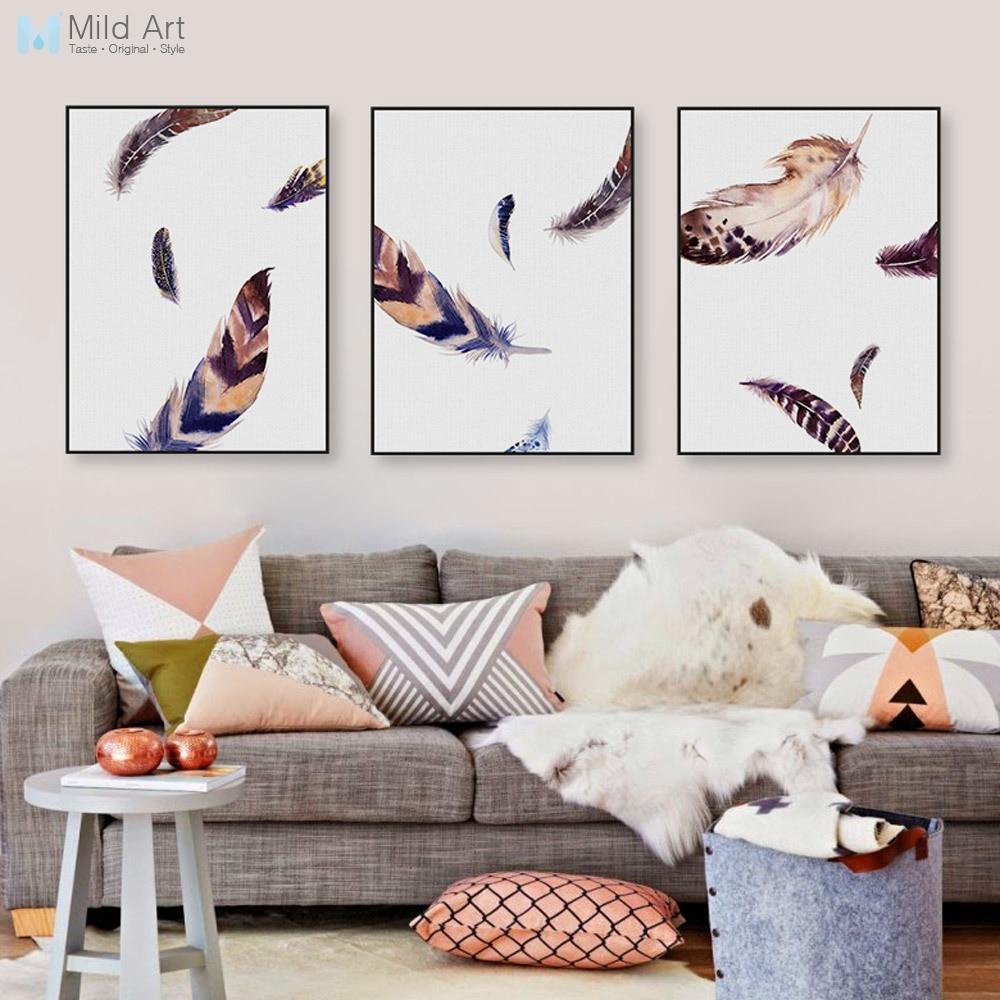 US $3.4 46% di SCONTO|Vintage Acquerello Piuma di Uccello Poster A4 Stampe  Soggiorno di Arte Della Parete Quadri Moderni Nordic Complementi Arredo ...