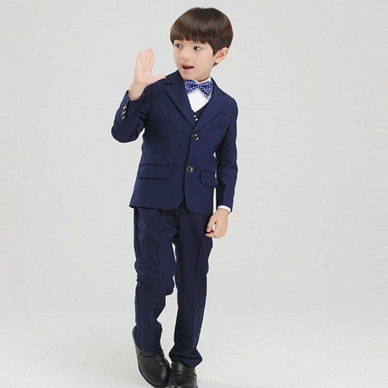 Nach Maß Junge Smoking Kerbe Revers Kinder Anzug Zwei Tasten Blau ...