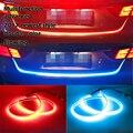 Vinda nova cor dupla tipo de fluxo drl em caixa Tronco com Piscas laterais luzes LEDs Tiras luz De Travagem Do Carro Traseira do carro-styling