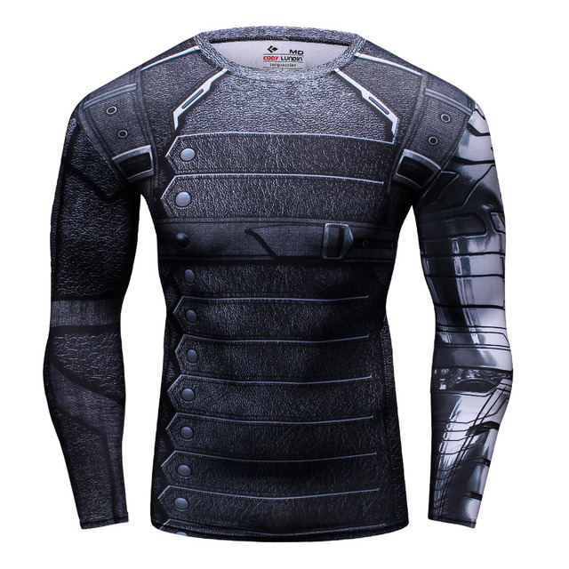 b6df78485b0a Winter Soldier 3D Printed Long Sleeve T Shirt Men Fitness Gym Clothing  Marvel Avengers Captain America Crossfit Tops Compression