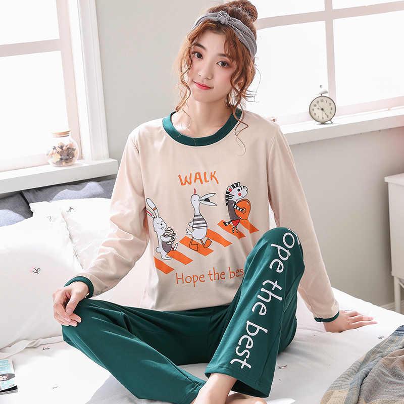 c1e910e1ac6f4 Spring Autumn Thin Carton Print Women Long Sleepwear Suit Home Women Gift  Female Sleepsets Pajamas Sets