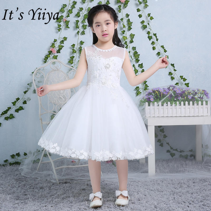It's yiiya Fashion Embroidery   Flower     Girl     Dresses   Lace Princess Ball Gown Sleeveless   Girl     Dress   TS220