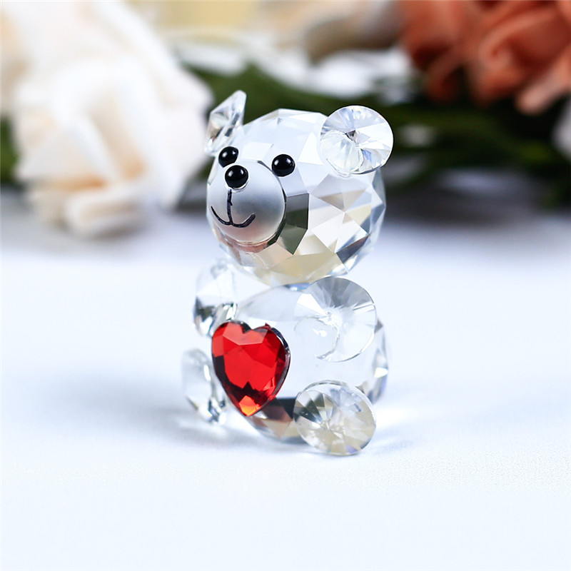 Crystal Glass Bear With A Heart figurines miniatures vintage quartz crystals angel Animal ornaments For Home Decor accessories