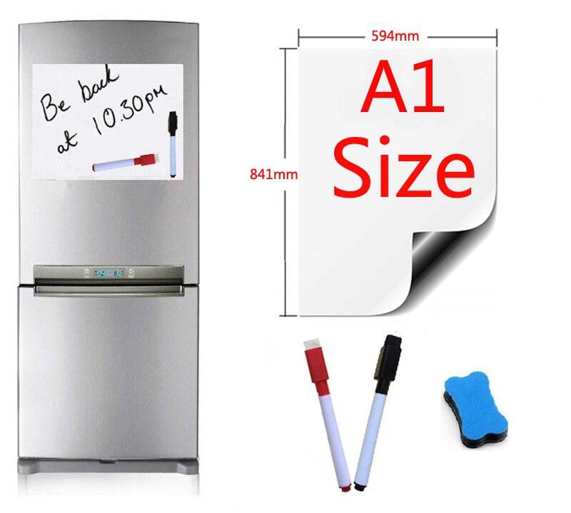 A1 taille 594x841mm tableau blanc magnétique réfrigérateur aimants tableaux de présentation accueil cuisine panneaux d'affichage écriture autocollant 2pen1gomme