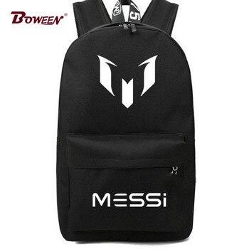 цена на Teens Boy School Backpack Male Teenager Messi Black Cool Back Pack Men Travel Back Bag Large Capacity Pack Bag Ronaldo