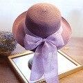 2017 мода популярные лето лук шляпа женщина ГОРЯЧАЯ Большая соломенная шляпа отбортовки Топпер verano Сомбреро arco Бесплатная доставка