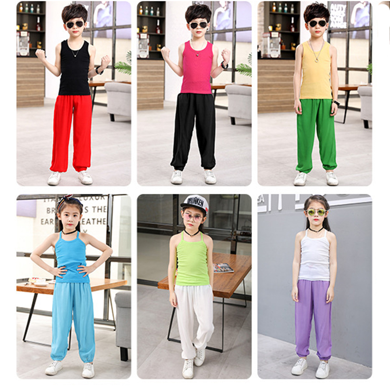 1 7 Years Baby Boys Girls Summer Cotton Harem Baggy Pants Solid Color Kids Clothes Children Sweatpants Trousers Breathable 2019 in Pants from Mother Kids