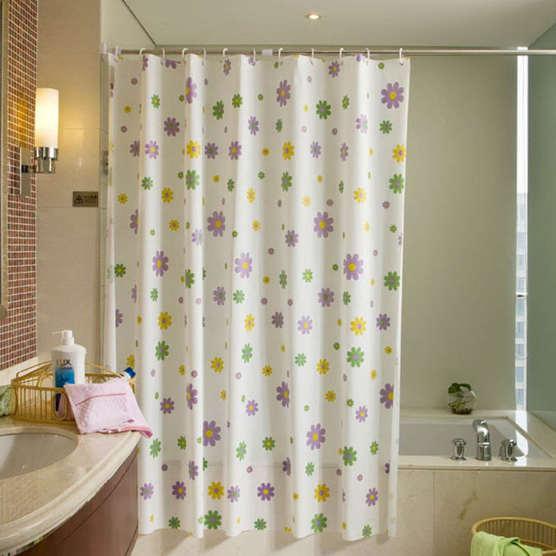 Eco-friendly Waterproof Bathroom Curtains Washable Bath Decor Shower Curtain PEVA 1 Pc Mould Proof Flower Shape